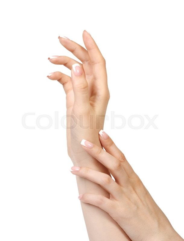 Stock image of 'Female hands with french manicure isolated on white background'