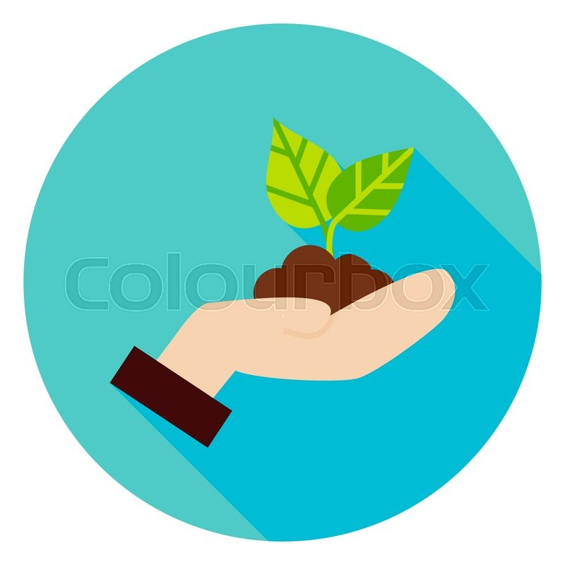 Hand With Plant Growth Circle Icon Flat Design Vector Illustration