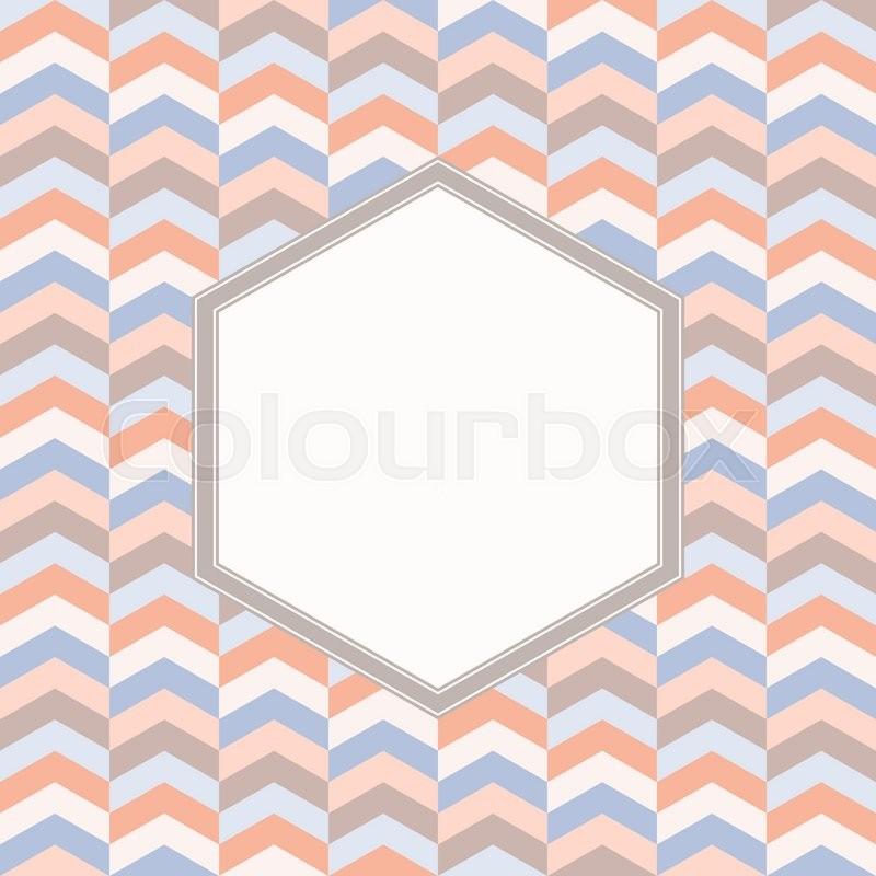 Blank hexagon frame with chevron geometric background, hexagonal ...