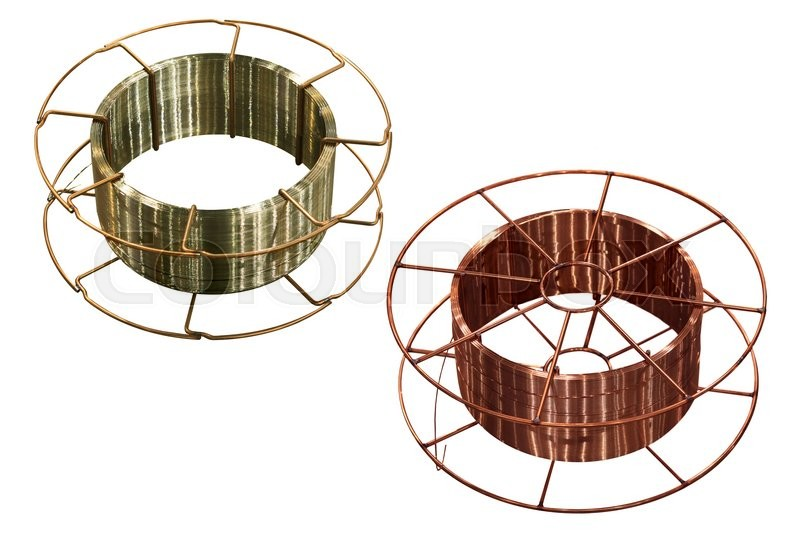 Stock image of 'copper and steel welding wire on white background'