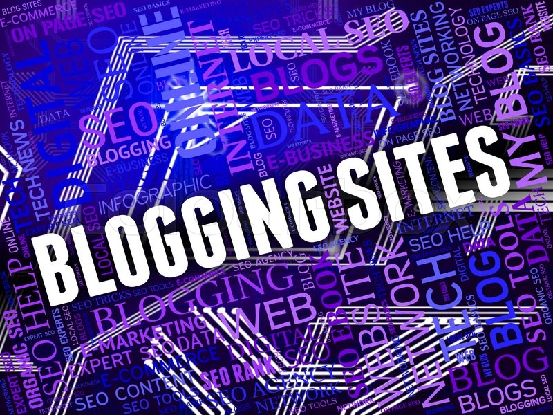 Stock image of 'Blogging Sites Meaning Websites Bloggers And Network'
