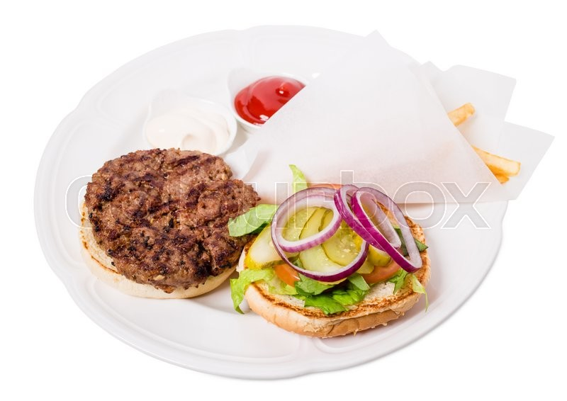 Stock image of 'Delicious american grilled beef burger with potato fries and pickled vegetables. Isolated on a white background.'