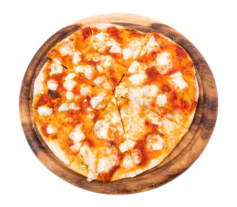Stock image of 'Delicious margarita pizza with parmesan and mozzarella on wooden platter. Isolated on a white background.'