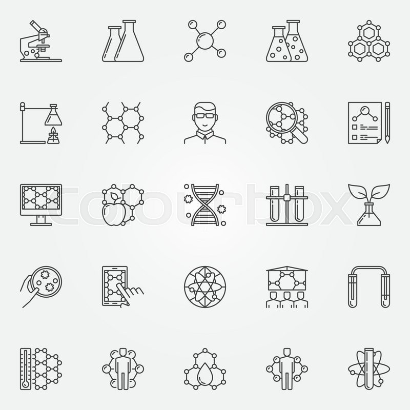 Biotechnology Icons Set Vector Collection Of Bio Technology And