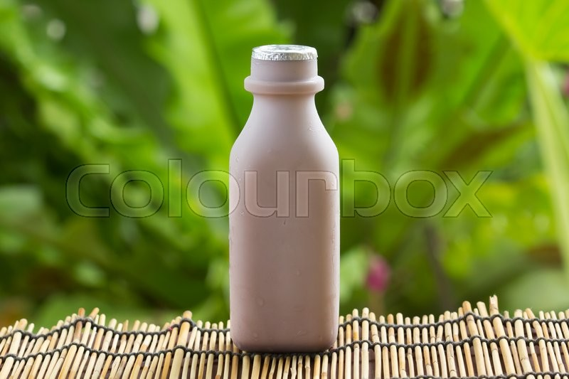 Stock image of 'Chocolate milk in Plastic bottle on garden background '
