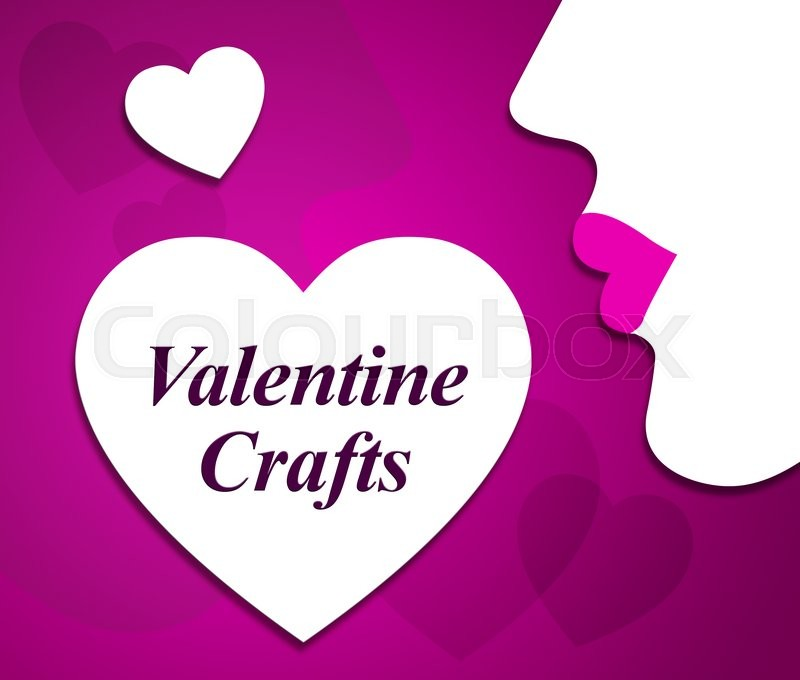 Stock image of 'Valentine Crafts Showing Valentines Day And Couple'