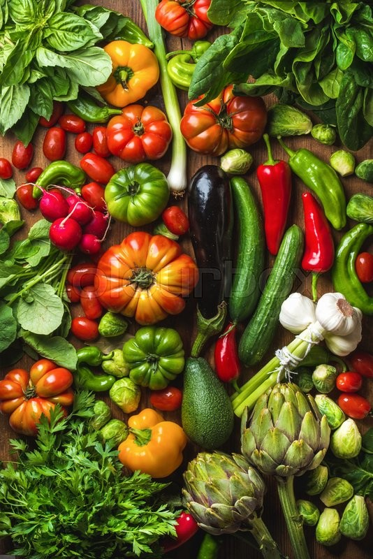 Stock image of 'Fresh raw vegetable ingredients for healthy cooking or salad making, top view. Diet or vegetarian food concept'