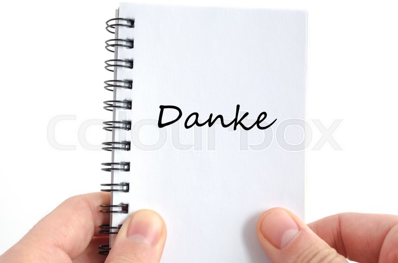 Stock image of 'Danke text concept isolated over white background'