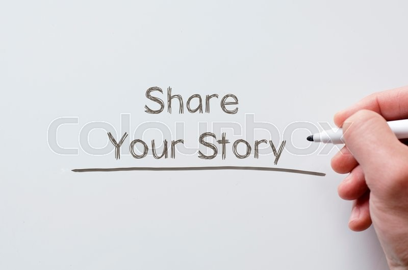 Stock image of 'Human hand writing share your story on whiteboard'