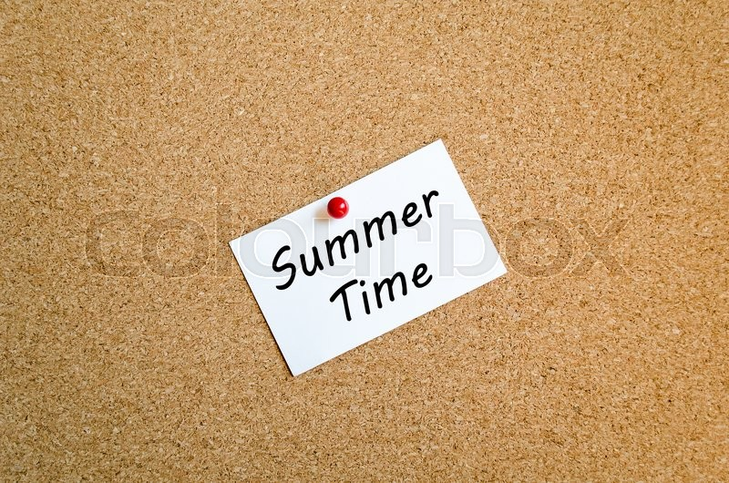 Stock image of 'Sticky Note On Cork Board Background And Summer Time Text Concept'