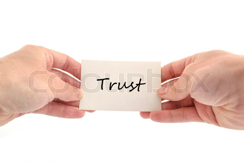 Stock image of 'Trust text concept isolated over white background'