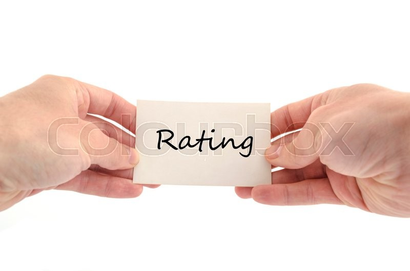 Stock image of 'Ratings text concept isolated over white background'