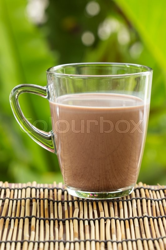 Stock image of 'Fresh chocolate Milk in a glass with a garden background '