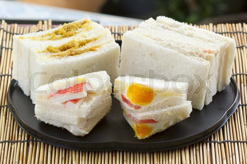 Stock image of 'Hamburger and sandwich set on the tray'