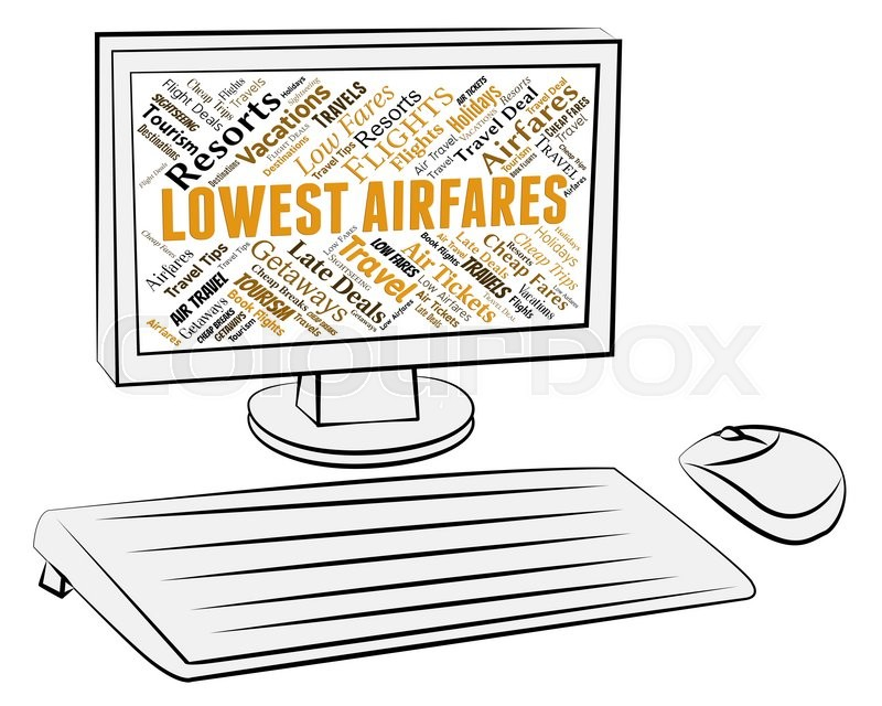Stock image of 'Lowest Airfares Indicating Current Price And Plane'