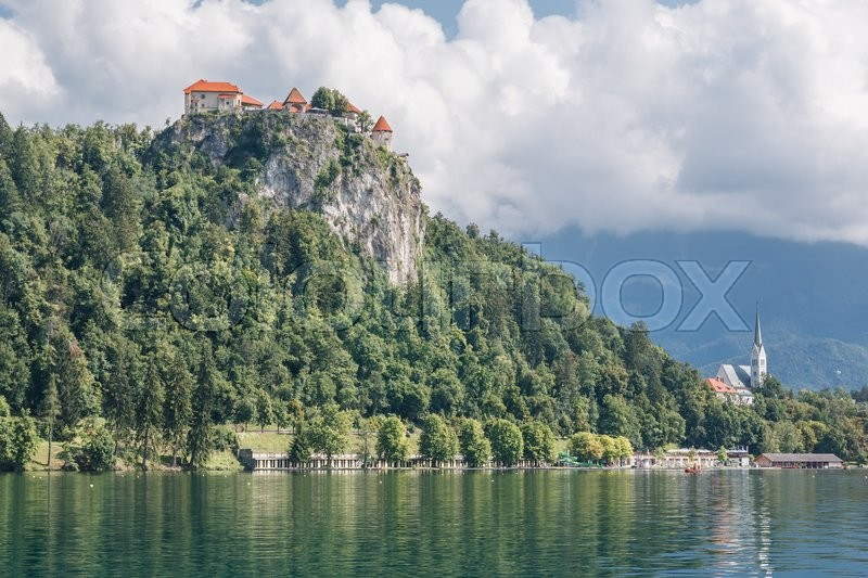 Stock image of 'Photo shows a landscape of lake Bled, Slovenia in summer.'