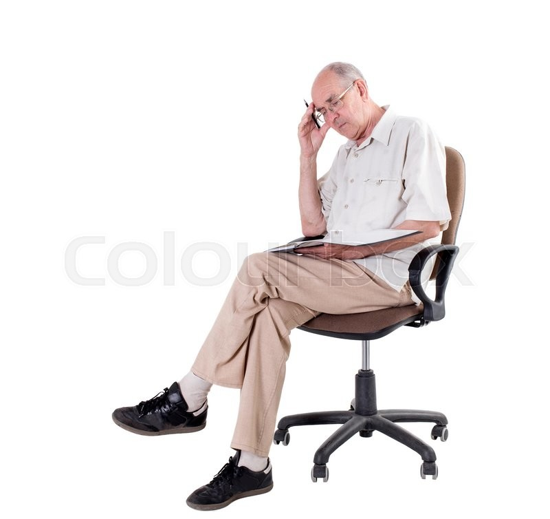 Old man in glasses with folder and pen sitting on a chair and ...