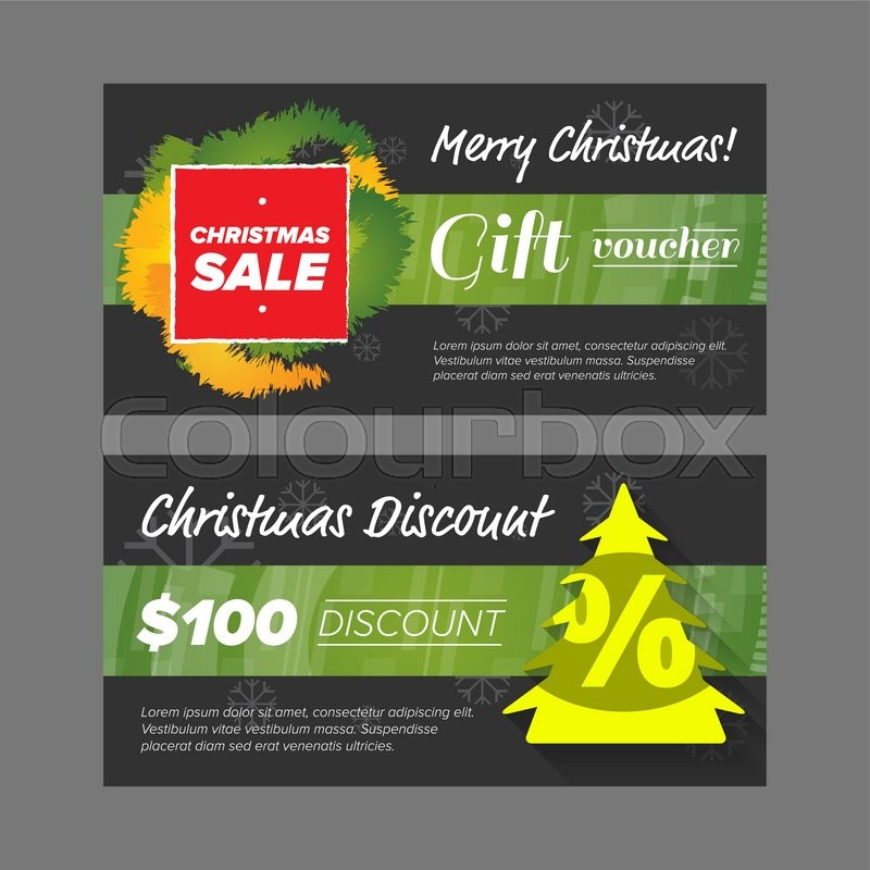 new year gift voucher design with sale tag and green tree stock