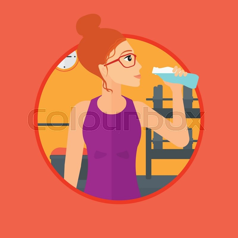 Sportive woman drinking water. Woman with bottle of water in the gym. Young sports woman drinking water from the bottle. Vector flat design illustration in the circle isolated on background, vector