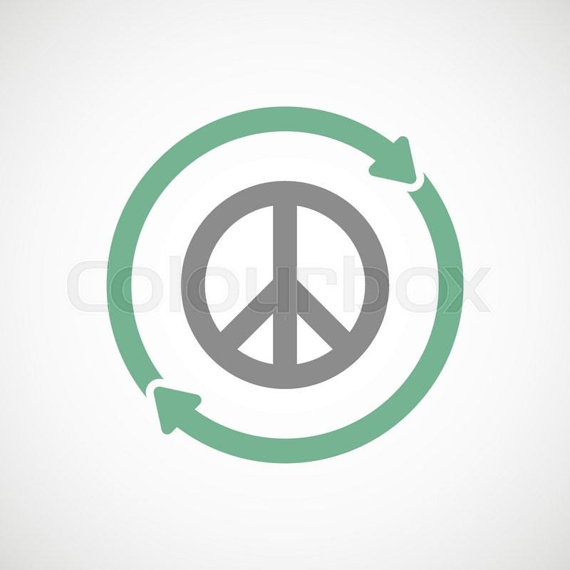 Illustration Of An Isolated Reuse Line Art Sign With A Peace Sign