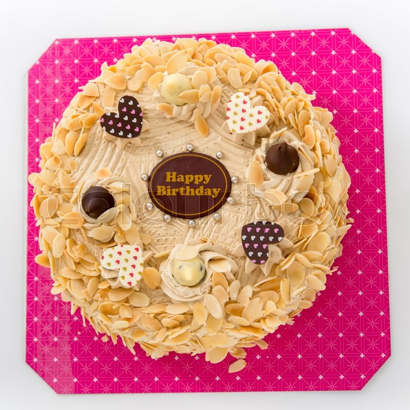 Coffee Almond Birthday Cake On White Background Stock Photo