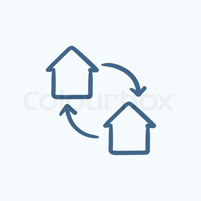 House Exchange Vector Sketch Icon Stock Vector Colourbox