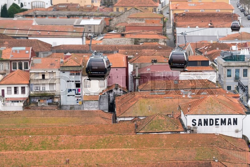 PORTO, PORTUGAL - FEBRUARY 08:, 2016: Cable cars near the Dom Luís I Bridge, Porto, Portugal, stock photo