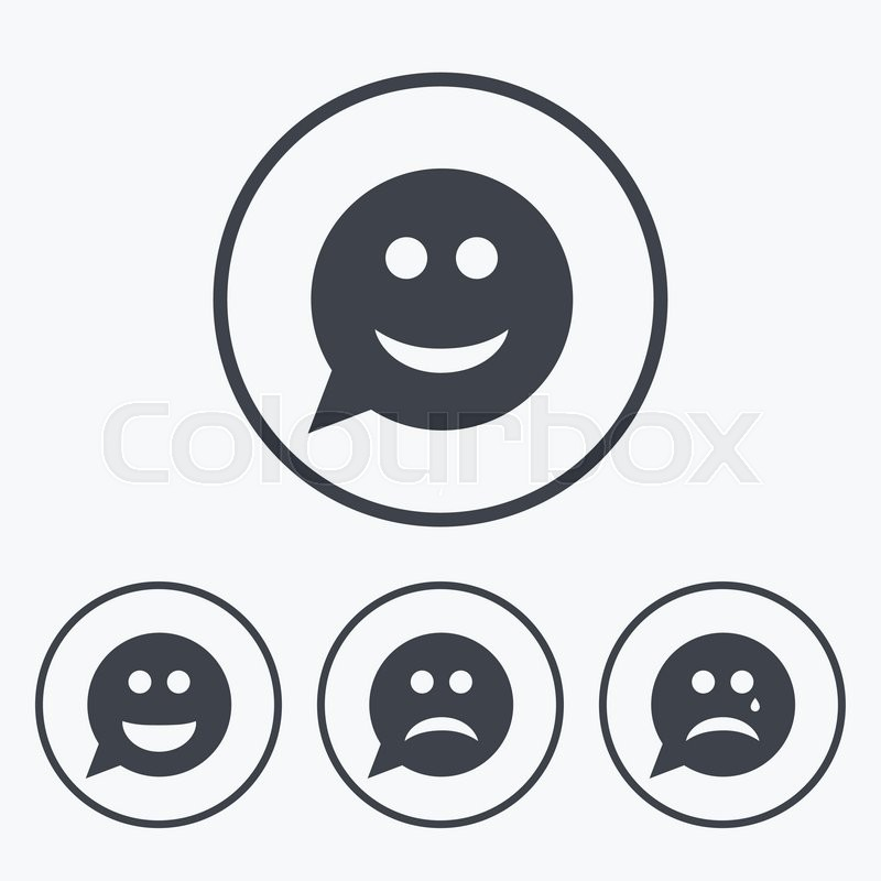 Speech Bubble Smile Face Icons Happy Sad Cry Signs Happy Smiley