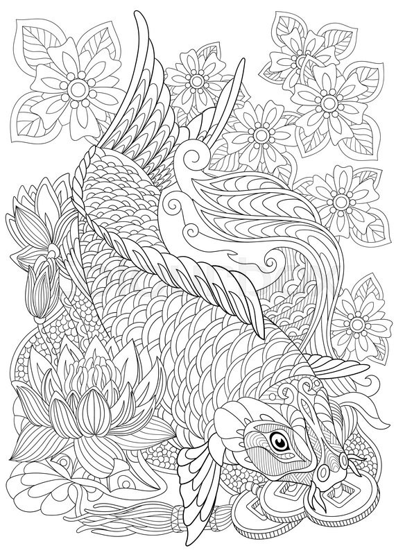 Zentangle stylized cartoon koi carp isolated on white Japanese coloring book for adults