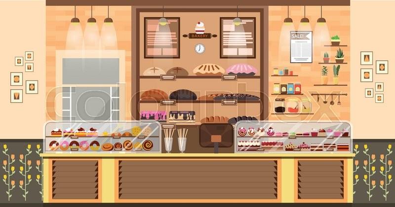 Stock Vector Illustration Interior Of Bake Shop Bake Sale Business Simple Bakery Kitchen Design Style