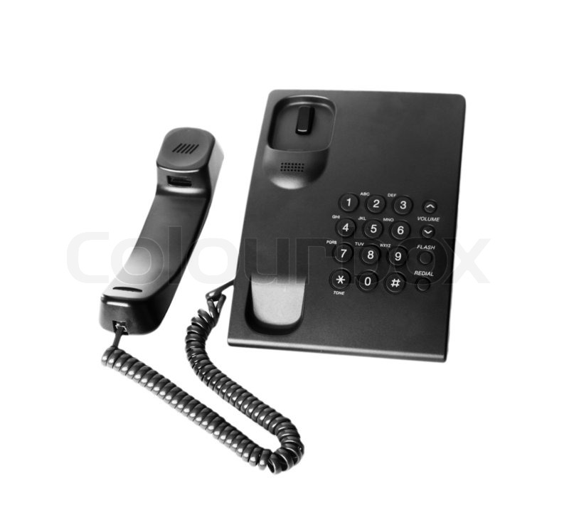 Office Phone Take Off Isolated On White, Stock Photo