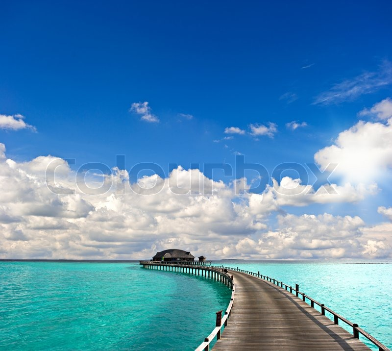 Tropical seascape overwater bungalow stock photo colourbox - Impressive house with tranquil environment to get total relaxation ...