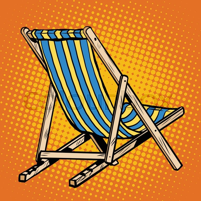 Deck Chair Striped Blue Beach Lounger Pop Art Retro Vector. Realistic Sun  Lounger | Stock Vector | Colourbox