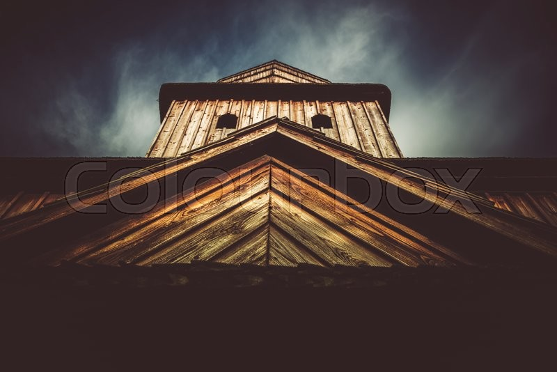 Old Wooden Church in Lesser Poland, Europe. Historical Wooden Church, stock photo