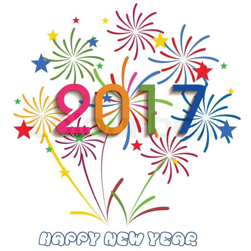 Happy new year 2017 with fireworks background stock vector colourbox happy new year 2017 with fireworks background vector voltagebd Images