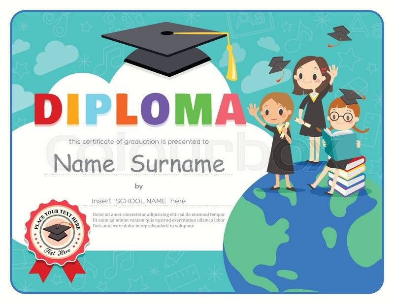Primary school kids graduation diploma certificate background primary school kids graduation diploma certificate background design template stock vector colourbox yelopaper Choice Image