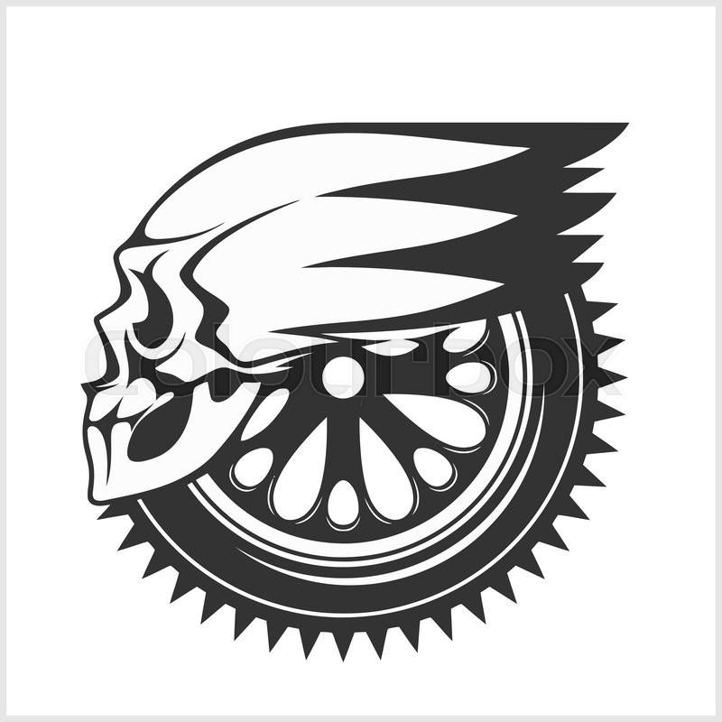 Biker Skull Racing Symbol Isolated On White Stock