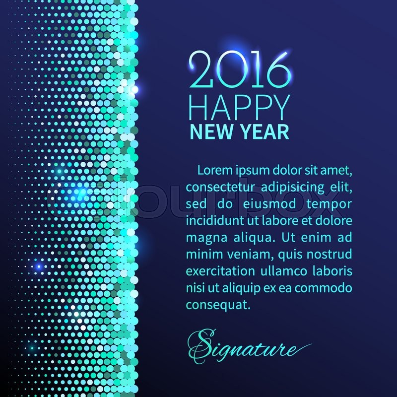 new year 2016 background blue shining vertical border with sparkling sequins in the disco style stock vector colourbox