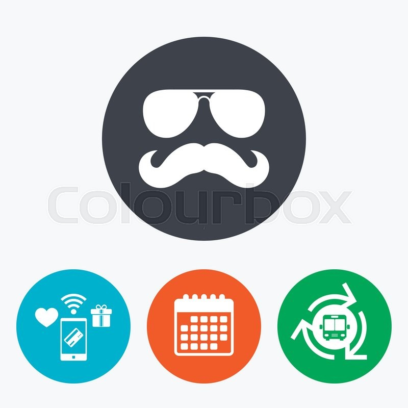Mustache And Sunglasses Sign Icon Hipster Symbol Mobile Payments