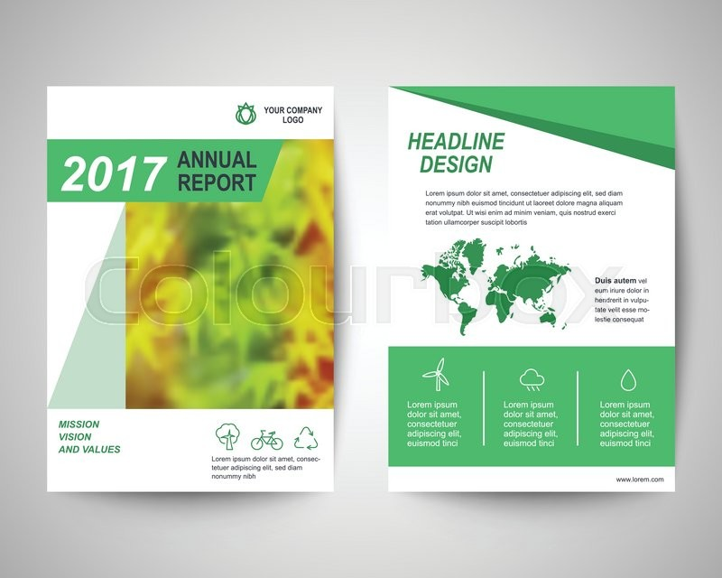 Green Abstract Flyer Layout Template Brochure Background Leaflet
