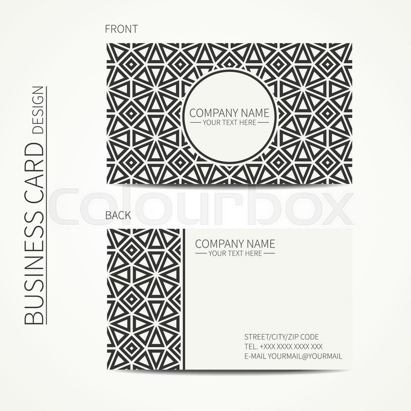 Vector simple business card design template black and white business card for corporate business and personal use trendy calling card geometric monochrome line lattice arabic pattern oriental style stock vector reheart Choice Image