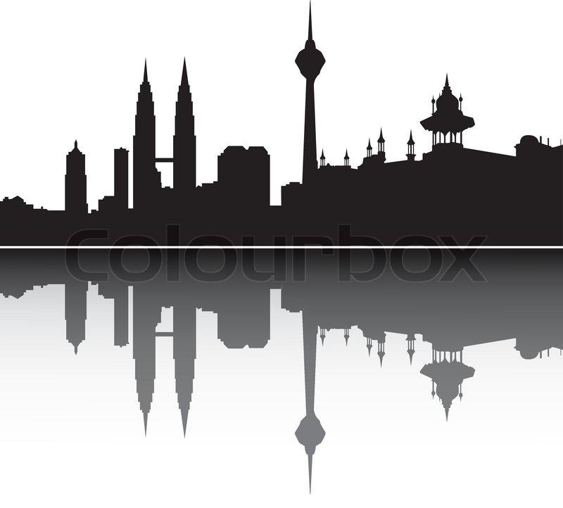 Kuala Lumpur Skyline Malaysia Stock Vector Colourbox