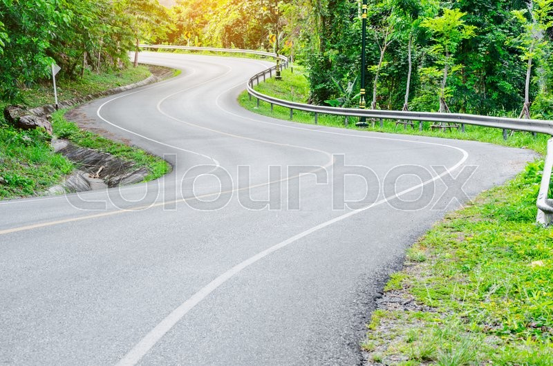 An empty S-Curved road in Thailand, stock photo