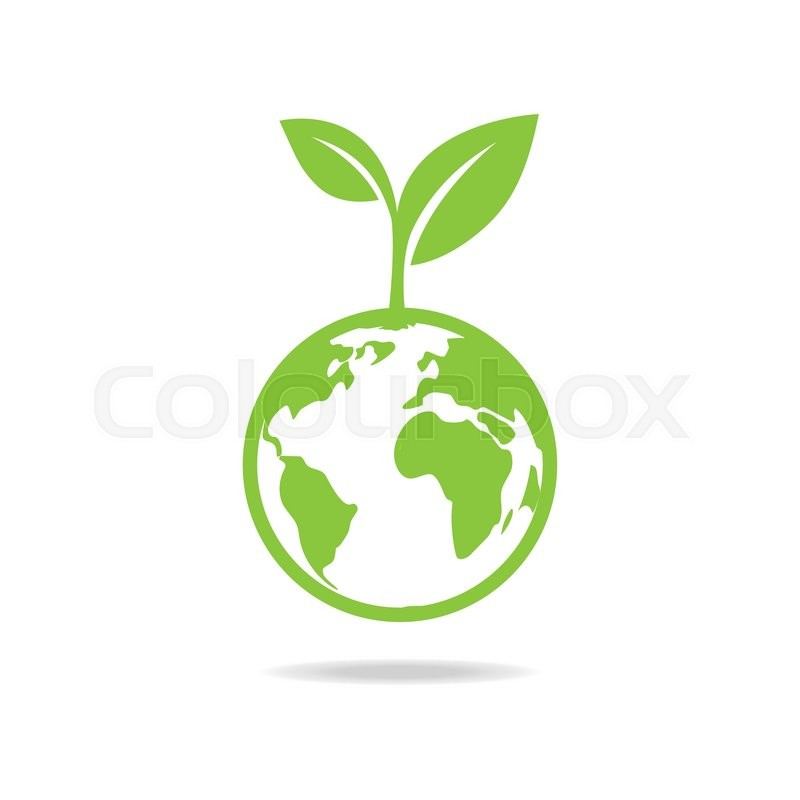Green Leafs And Globe Eco Icon Mockup Save Planet Logo Stock