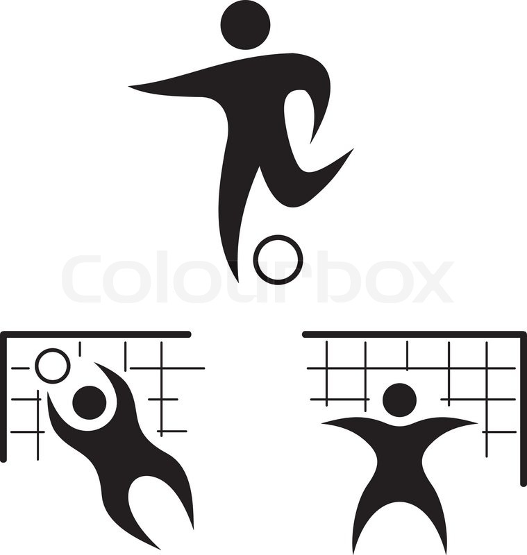 Football Icon Set Silhouettes Of The Players In Vector Format