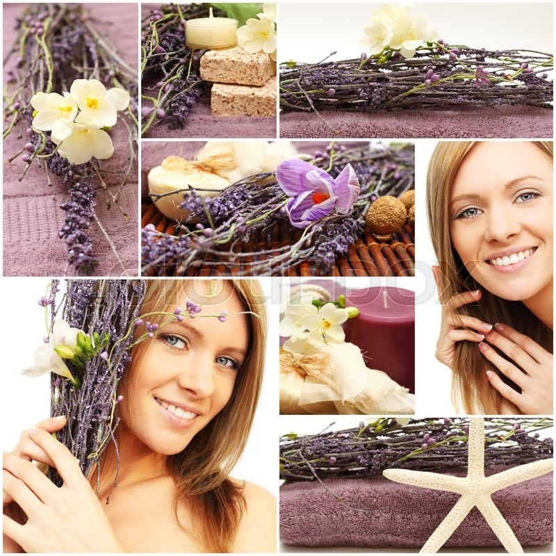 Spa and wellness collage - beautiful woman face, cosmetic and flowers, stock photo