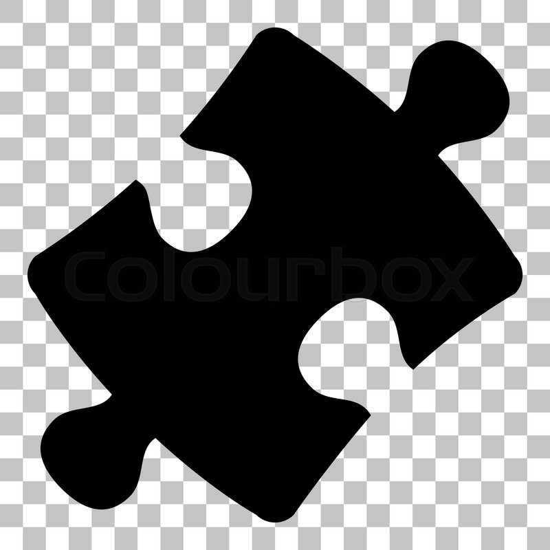 Puzzle Piece Sign Flat Style Black Icon On Transparent Background
