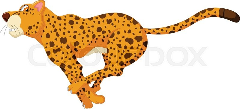 Vector illustration of cute cheetah cartoon running ...
