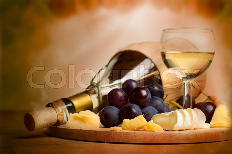 Gourmet food background, border with wine, cheese and grapes, stock photo