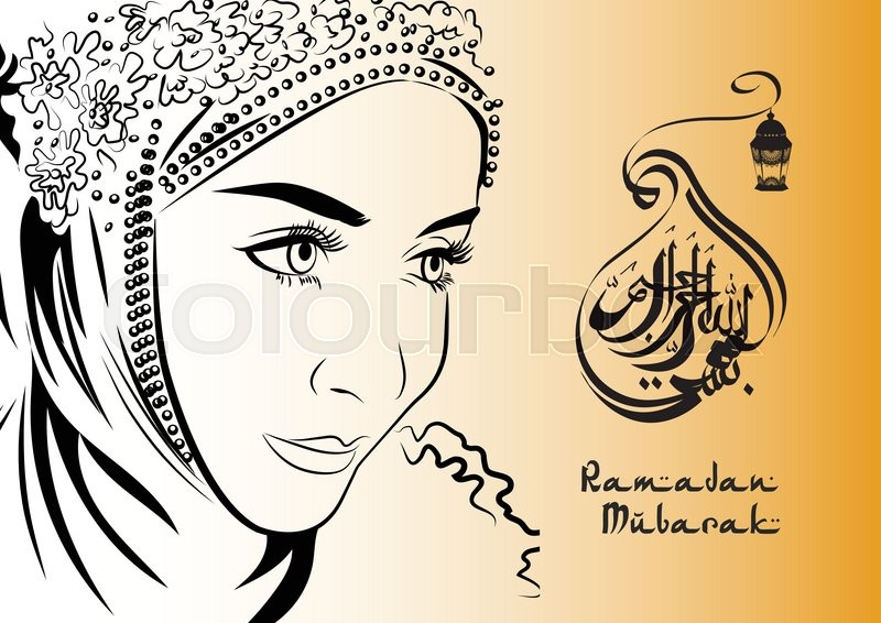 muslim female in hijab hand drawing style ramadan mubarak